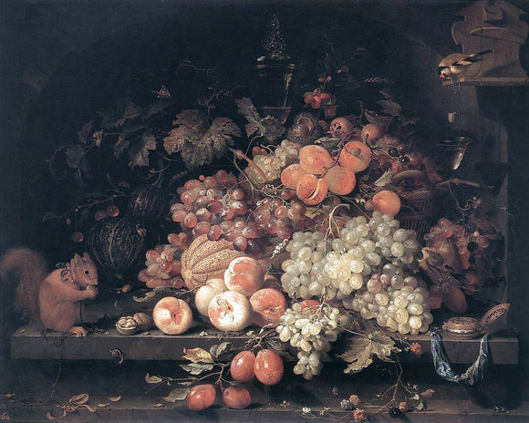 Abraham Mignon Fruit Still-Life with Squirrel and Goldfinch - Canvas Art Print