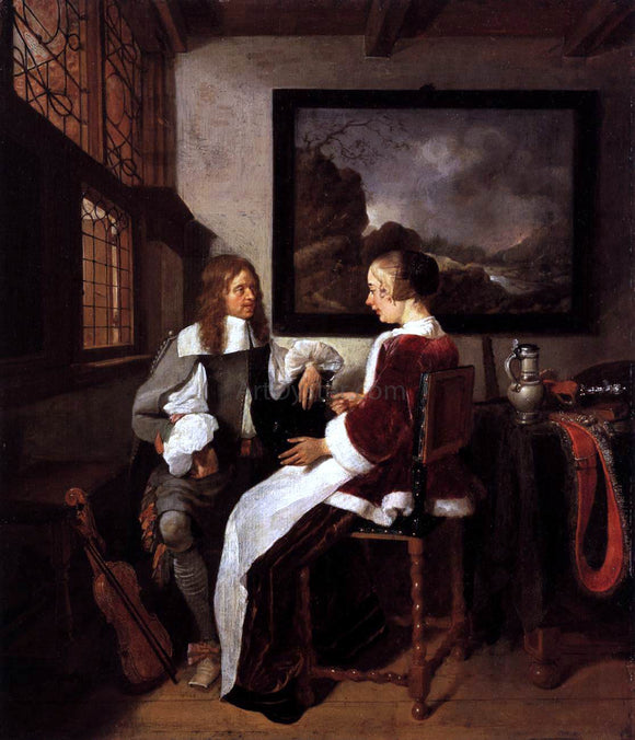Quiringh Van Brekelenkam Gallant Conversation - Canvas Art Print