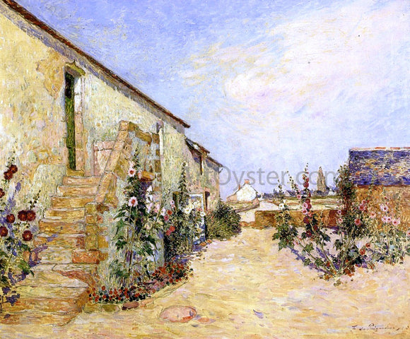 Ferdinand Du Puigaudeau Garden at Kervaudu, Hollyhocks - Canvas Art Print
