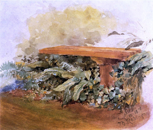 Theodore Robinson Garden Bench with Ferns - Canvas Art Print