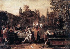Esaias Van de Velde Garden Party Before a Palace - Canvas Art Print