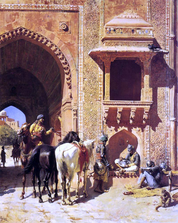 Edwin Lord Weeks Gate of the Fortress at Agra, India - Canvas Art Print