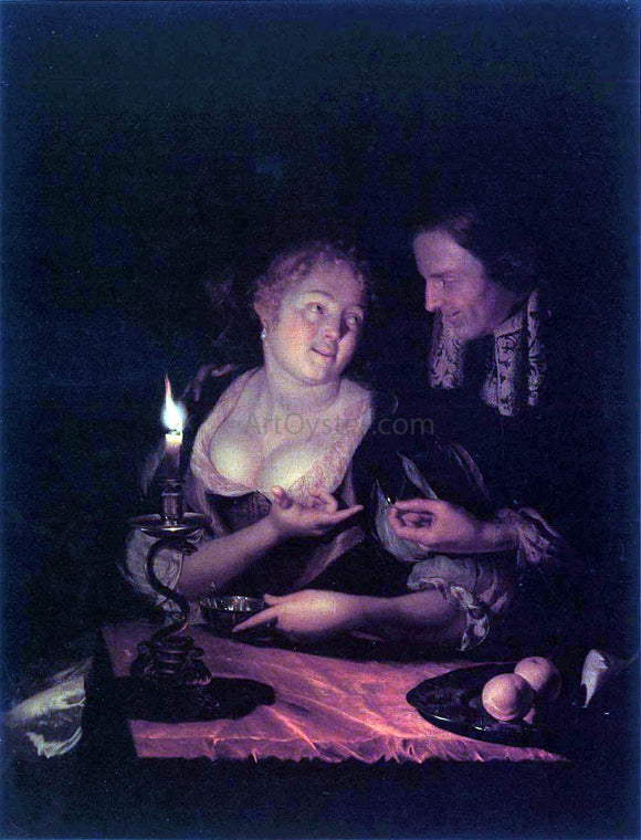 Godfried Schalcken Gentleman Offering a Lady a Ring in a Candlelit Bedroom - Canvas Art Print