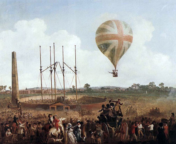 Julius Caesar Ibbetson George Biggins' Ascent in Lunardi' Balloon - Canvas Art Print