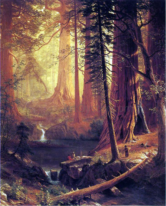 Albert Bierstadt Giant Redwood Trees of California - Canvas Art Print