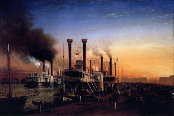 Hyppolite Sebron Giant Steaamboats at the Levee in New Orleans - Canvas Art Print