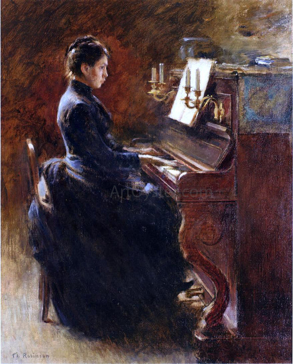 Theodore Robinson Girl at Piano - Canvas Art Print
