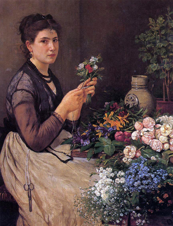 Otto Scholderer Girl Cutting Flowers - Canvas Art Print