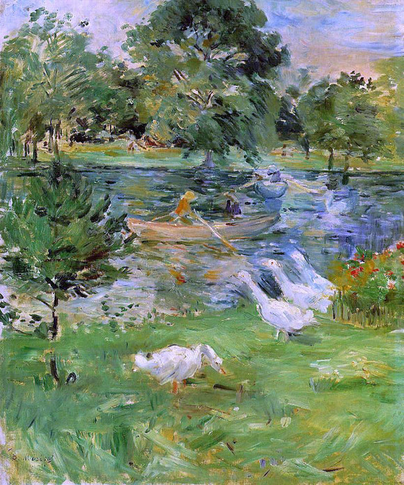 Berthe Morisot Girl in a Boat, with Geese - Canvas Art Print