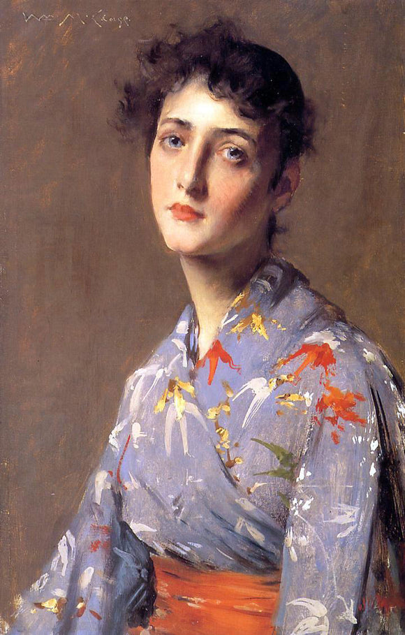 William Merritt Chase Girl in a Japanese Kimono - Canvas Art Print
