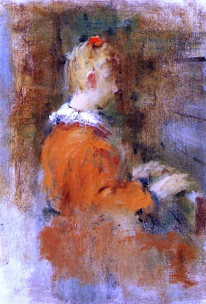 Theodore Robinson Girl in Red at the Piano - Canvas Art Print