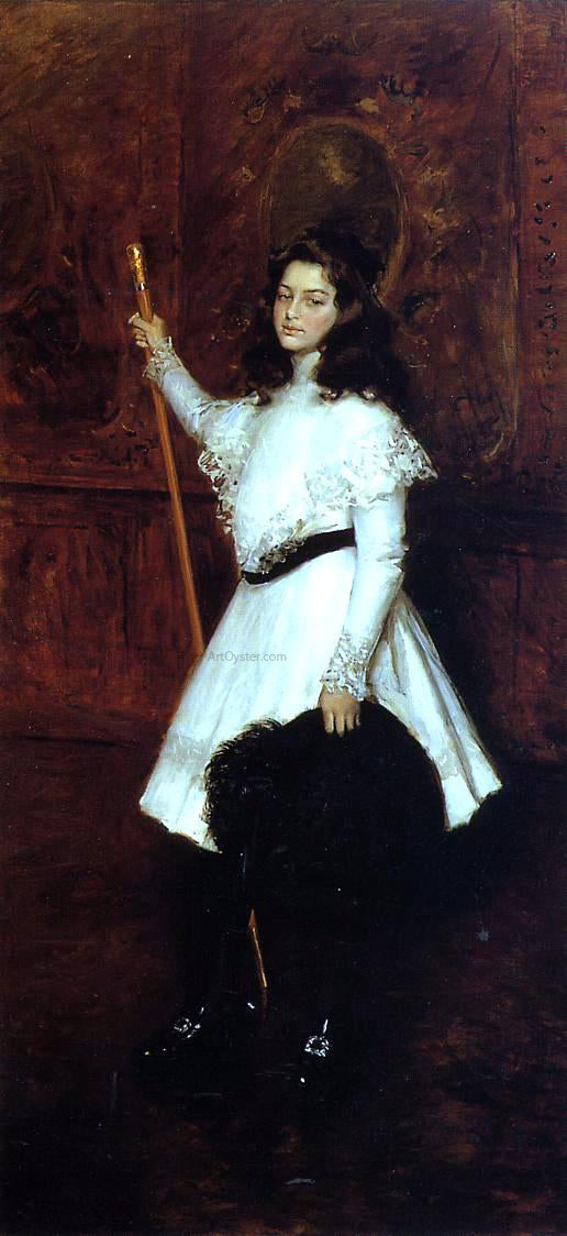 William Merritt Chase Girl in White (also known as Portrait of Irene Dimock) - Canvas Art Print