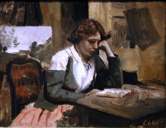 Jean-Baptiste-Camille Corot Girl Reading - Canvas Art Print