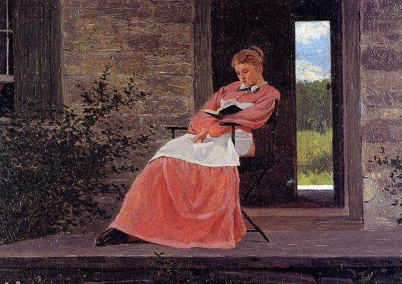 Winslow Homer Girl Reading on a Stone Porch - Canvas Art Print
