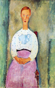 Amedeo Modigliani Girl with a Polka-Dot Blouse - Canvas Art Print