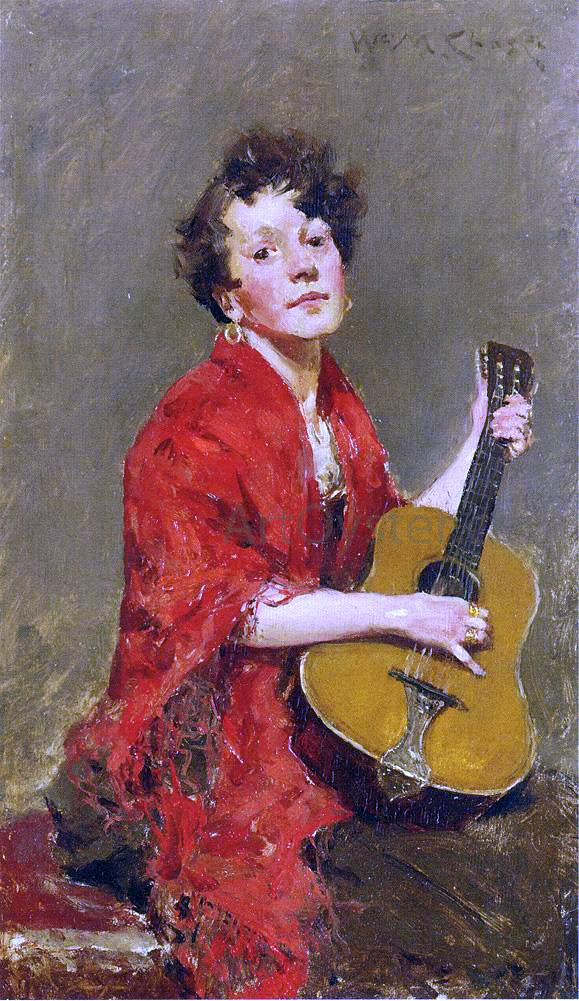 William Merritt Chase A Girl with Guitar - Canvas Art Print
