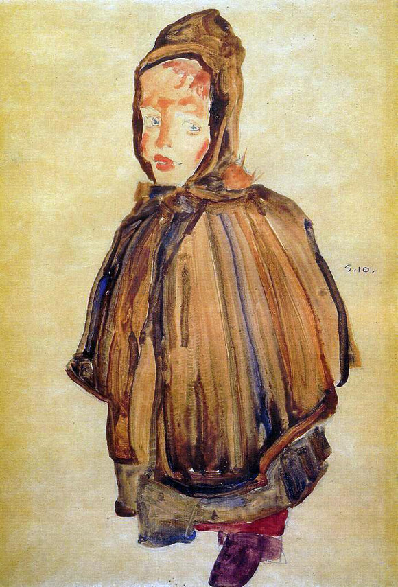 Egon Schiele Girl with Hood - Canvas Art Print