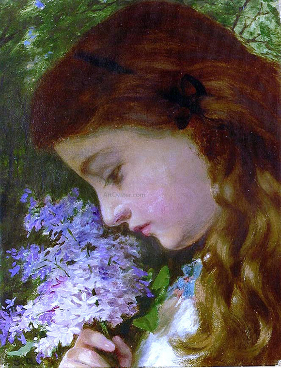 Sophie Anderson Girl with Lilacs - Canvas Art Print