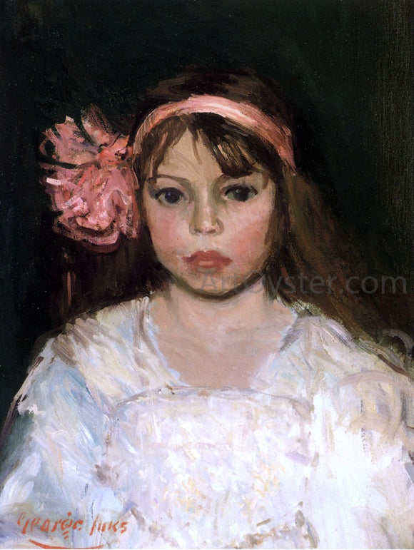 George Luks Girl with Pink Ribbon - Canvas Art Print