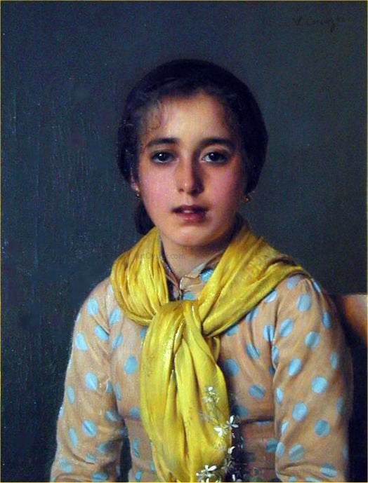 Vittorio Matteo Corcos Girl with Yellow Shawl - Canvas Art Print
