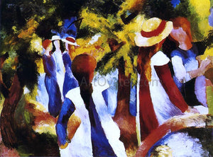 August Macke Girls under Trees - Canvas Art Print