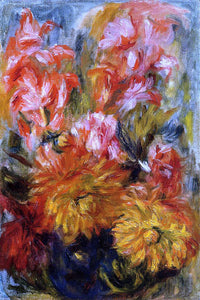 Pierre Auguste Renoir Gladiolas in a Blue Vase - Canvas Art Print