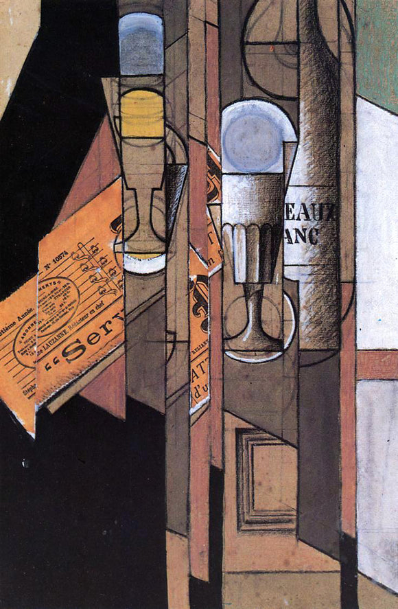 Juan Gris Glasses, Newspaper and Bottle of Wine - Canvas Art Print