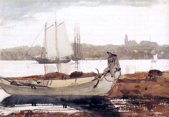 Winslow Homer Gloucester Harbor and Dory - Canvas Art Print