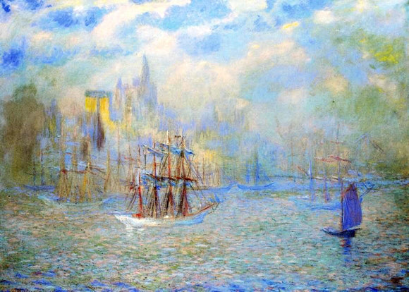 Theodore Earl Butler Goelettes in the Port of New York - Canvas Art Print