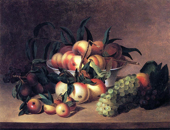 James Peale Grapes, Apples and Bowl of Peaches - Canvas Art Print
