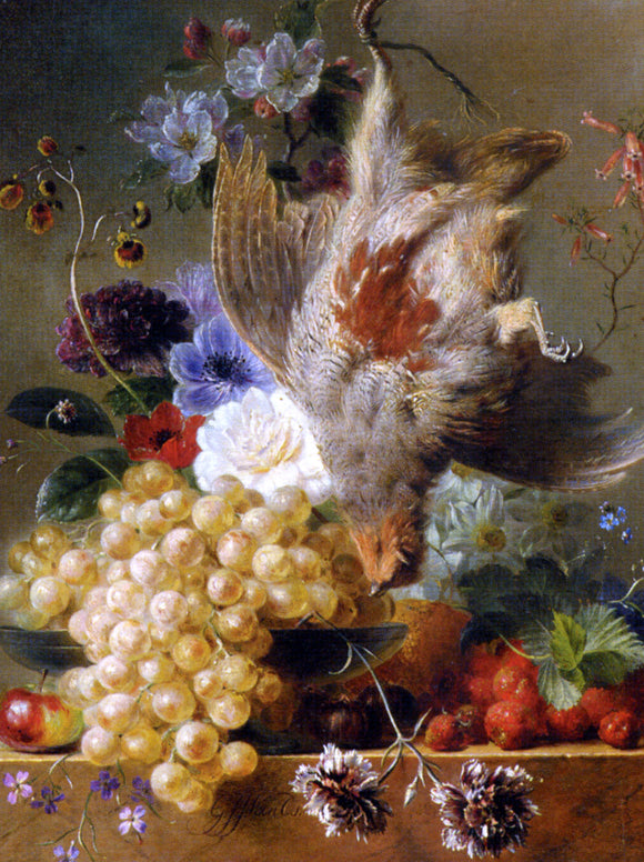 George Jacobus Johannes Van Os Grapes Strawberries Chestnuts an Apple and Spring Flowers - Canvas Art Print