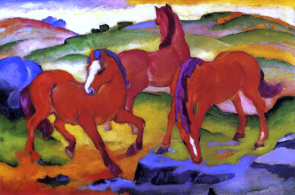 Franz Marc Grazing Horses IV (also known as The Red Horses) - Canvas Art Print