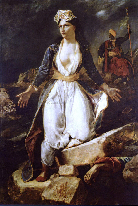 Eugene Delacroix Greece on the Ruins of Missolonghi - Canvas Art Print