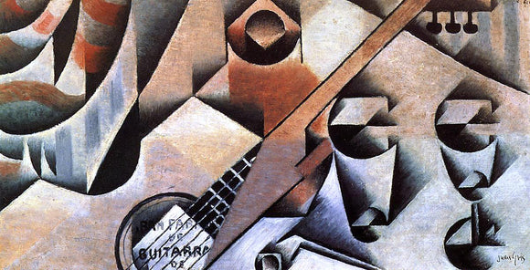 Juan Gris Guitar and Glasses (also known as Banjo and Glasses) - Canvas Art Print