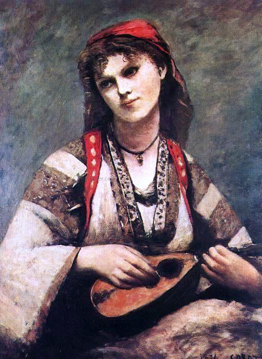 Jean-Baptiste-Camille Corot Gypsy with a Mandolin - Canvas Art Print
