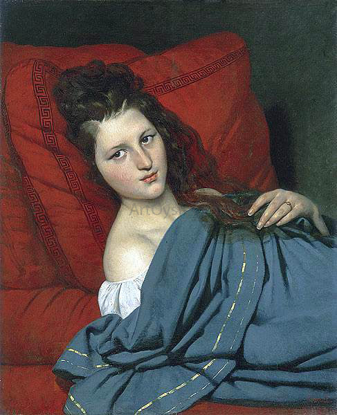 Joseph-Desire Court Half-length Woman Lying on a Couch - Canvas Art Print