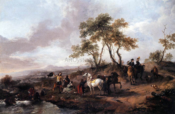 Philips Wouwerman Halt of a Hunting Party - Canvas Art Print