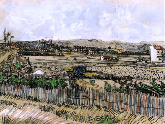 Vincent Van Gogh Harvest in Provence, at the Left Montmajour - Canvas Art Print
