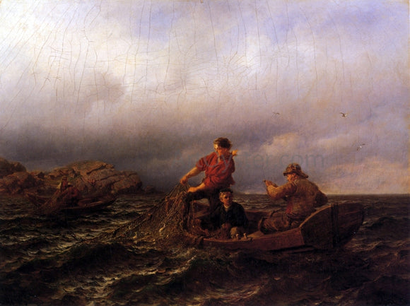 Hans Fredrik Gude Hauling in the Nets - Canvas Art Print