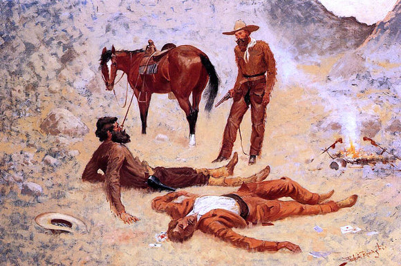 Frederic Remington He Lay Where He Had Been Jerked, Still as a Log (also known as Jerked Down) - Canvas Art Print