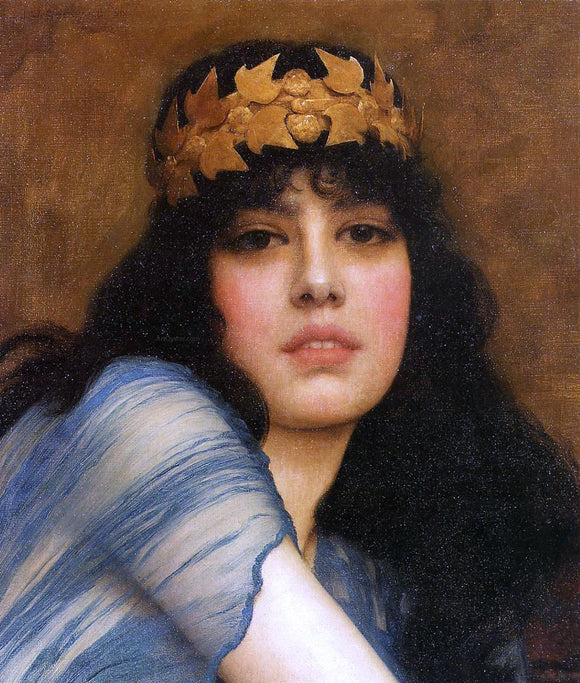 John William Godward Head of a Girl (also known as The Priestess) - Canvas Art Print
