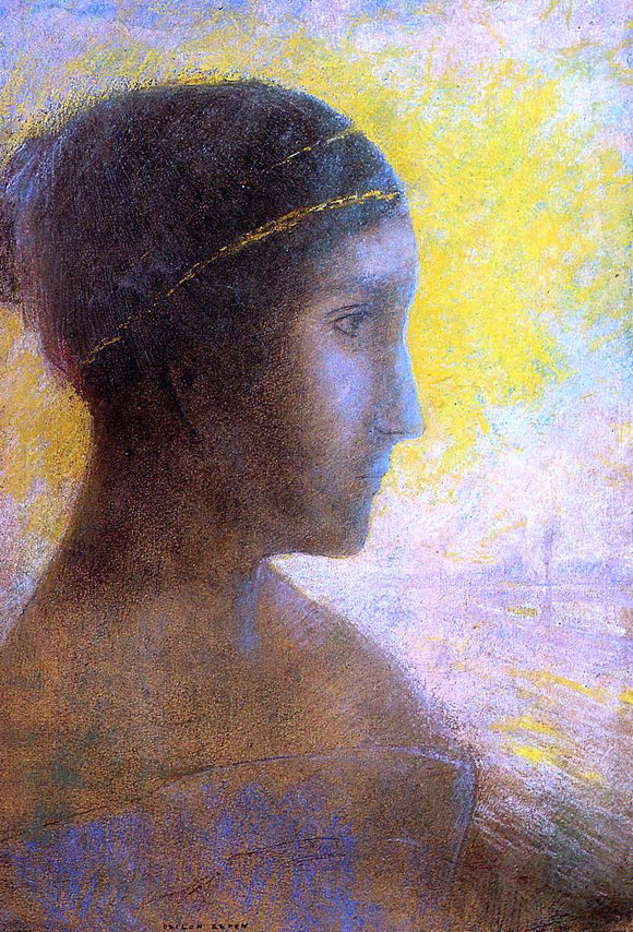 Odilon Redon Head of a Young Woman in Profile - Canvas Art Print