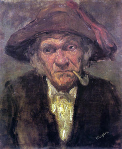 James McNeill Whistler Head of an Old Man Smoking - Canvas Art Print