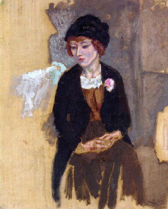 Jules Pascin Hermine in a Black Hat - Canvas Art Print