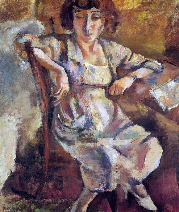 Jules Pascin Hermine on a Chair - Canvas Art Print
