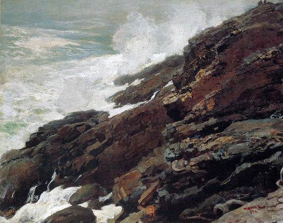 Winslow Homer High Cliff, Coast of Maine - Canvas Art Print