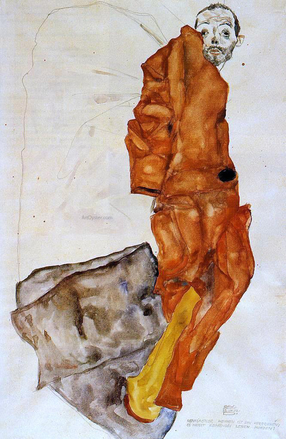 Egon Schiele Hindering the Artist is a Crime, It is Murdering Life in the Bud! - Canvas Art Print
