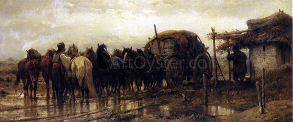 Adolf Schreyer Hitching Horses to the Wagon - Canvas Art Print