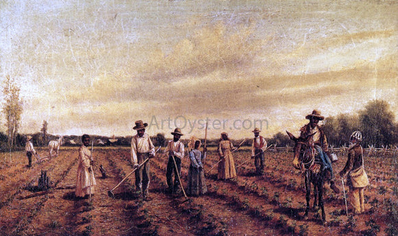 William Aiken Walker Hoeing Cotton - Canvas Art Print
