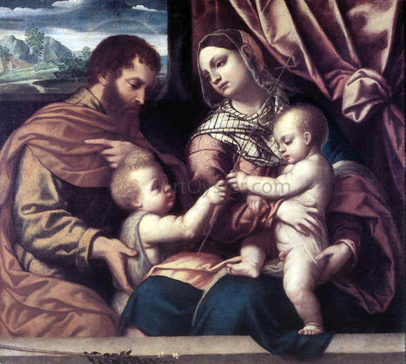 Moretto Da Brescia Holy Family - Canvas Art Print